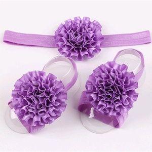 Other - Lavender newborn baby girl headband footie set